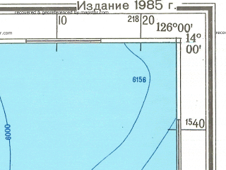 Reduced fragment of topographic map ru--gs--500k--d51-4--N014-00_E123-00--N012-00_E126-00 in area of San Miguel Bay, Lagonoy Gulf; towns and cities Mandaon, Calbayog, Iriga, Legaspi, Naga