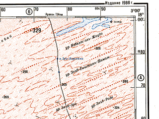 Reduced fragment of topographic map ru--gs--500k--e30-3--N018-00_W006-00--N016-00_W003-00 in area of Lac Faguibine, Lac Tele, Lac Oro; towns and cities Goundam, Dongo, Saya, Dyaloube