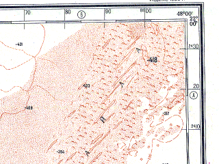 Reduced fragment of topographic map ru--gs--500k--f38-4--N022-00_E045-00--N020-00_E048-00; towns and cities Al Haddar, As Sulayyil, Kabkabiyah