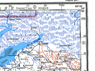 Reduced fragment of topographic map ru--gs--500k--f42-1--N024-00_E066-00--N022-00_E069-00; towns and cities Rampur, Suthri, Baranda