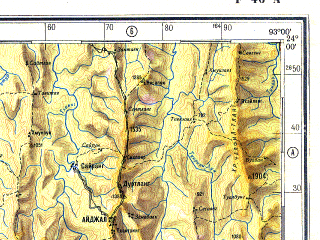 Reduced fragment of topographic map ru--gs--500k--f46-1--N024-00_E090-00--N022-00_E093-00 in area of Karnaphuli Reservoir; towns and cities Dhaka, Chittagong, Narayanganj, Agartala, Meilangtlang