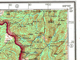 Reduced fragment of topographic map ru--gs--500k--f47-4--(1984)--N022-00_E099-00--N020-00_E102-00 in area of Menam Kohng; towns and cities Wan Um, Wan En, Ban Mok Poit