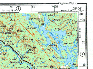Reduced fragment of topographic map ru--gs--500k--f48-3--(1991)--N022-00_E102-00--N020-00_E105-00; towns and cities Ban Veng, Sao Phai, Ban Kung