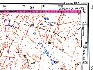 Reduced fragment of topographic map ru--gs--500k--g29-3--N026-00_W012-00--N024-00_W009-00 in area of Sebkhet Oumm Ed Drous Telli, Sebkhet Iguetti