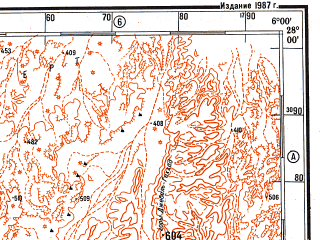 Reduced fragment of topographic map ru--gs--500k--g31-2--N028-00_E003-00--N026-00_E006-00