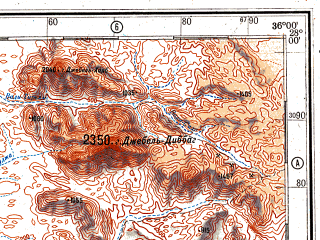 Reduced fragment of topographic map ru--gs--500k--g36-2--N028-00_E033-00--N026-00_E036-00