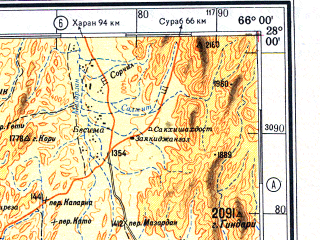 Reduced fragment of topographic map ru--gs--500k--g41-2--N028-00_E063-00--N026-00_E066-00; towns and cities Shireza, Bibi Lori, Mugalgori