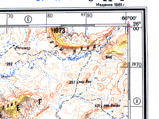 Reduced fragment of topographic map ru--gs--500k--g41-4--N026-00_E063-00--N024-00_E066-00 in area of Hingol; towns and cities Dadigor, Gadag-i Bent, Ghulaman-i-bent