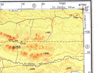 Reduced fragment of topographic map ru--gs--500k--h45-1--N032-00_E084-00--N030-00_E087-00 in area of Zhari Namco, Tangra Yumco, Xiaru Co; towns and cities Cho-shun-ka, Gase, Ko-su-mu-ching-chia
