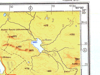 Reduced fragment of topographic map ru--gs--500k--h45-2--N032-00_E087-00--N030-00_E090-00 in area of Gyaring Co, Chuke Hu, Dagze Co; towns and cities To-pa, Hsiung-mei, Kang-chang