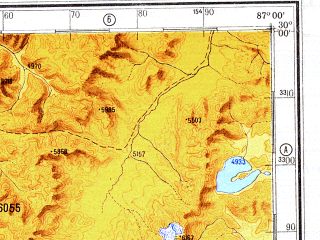 Reduced fragment of topographic map ru--gs--500k--h45-3--N030-00_E084-00--N028-00_E087-00 in area of Paiku Co; towns and cities Ku-la-ko, Yara, Gate