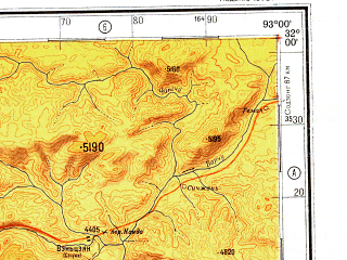 Reduced fragment of topographic map ru--gs--500k--h46-1--N032-00_E090-00--N030-00_E093-00 in area of Nam Co; towns and cities Horru, Men-pa