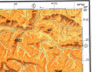 Reduced fragment of topographic map ru--gs--500k--h46-2--N032-00_E093-00--N030-00_E096-00; towns and cities Pa-mu-tang, Peng-ka-erh, Dere