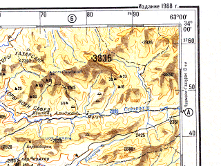 Reduced fragment of topographic map ru--gs--500k--i41-3--N034-00_E060-00--N032-00_E063-00 in area of Dag-e Namadi; towns and cities Anar Darreh, Soltan-e Bakva, Anate Sediq