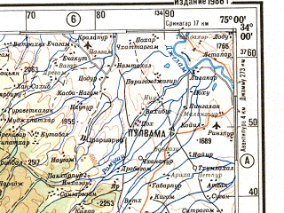 Reduced fragment of topographic map ru--gs--500k--i43-3--N034-00_E072-00--N032-00_E075-00 in area of Jhelum, Chenab, Mangla Reservoir; towns and cities Rawalpindi, Islamabad, Daulat Nagar, Naushahra, Kahuta