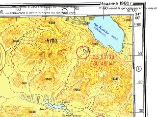 Reduced fragment of topographic map ru--gs--500k--i44-3--N034-00_E078-00--N032-00_E081-00 in area of Bangong Co, Tso Morari; towns and cities Digra, Ukdungle, Mahe