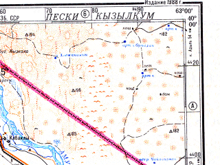 Reduced fragment of topographic map ru--gs--500k--j41-1--N040-00_E060-00--N038-00_E063-00; towns and cities Neftezavodsk, Kapakly, Khankui, Tash-akyi