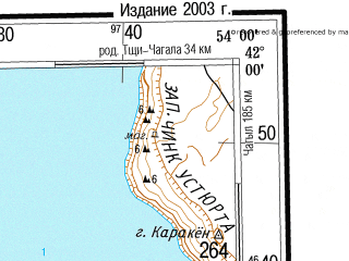 Reduced fragment of topographic map ru--gs--500k--k39-4--(2003)--N042-00_E051-00--N040-00_E054-00 in area of Zaliv Karabogazgol; towns and cities Krasnovodsk, Bekdash, Dzhanga, Kabyl, Kara-bogaz-gol