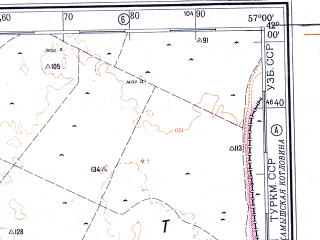 Reduced fragment of topographic map ru--gs--500k--k40-3--N042-00_E054-00--N040-00_E057-00; towns and cities Tuar, Ubyk, Yankui