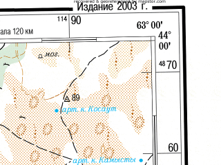 Reduced fragment of topographic map ru--gs--500k--k41-1--(2003)--N044-00_E060-00--N042-00_E063-00; towns and cities Mangit, Daukara, Karatau, Karauzyak