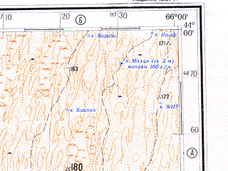 Reduced fragment of topographic map ru--gs--500k--k41-2--N044-00_E063-00--N042-00_E066-00; towns and cities Uchkuduk