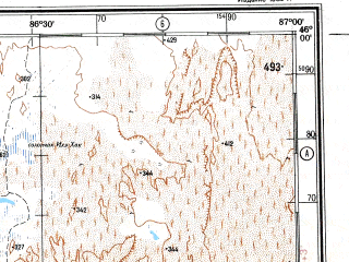 Reduced fragment of topographic map ru--gs--500k--l45-3--N046-00_E084-00--N044-00_E087-00 in area of Manas Hu; towns and cities Tao-chia-ti, Liu-lu, Tu-chl-li