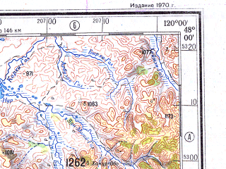 Reduced fragment of topographic map ru--gs--500k--l50-2--N048-00_E117-00--N046-00_E120-00 in area of Buir Nuur; towns and cities Asar, Halha Horoo, Hsi-en-no-ho-ssu-mu