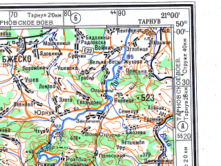 Reduced fragment of topographic map ru--gs--500k--m34-3--N050-00_E018-00--N048-00_E021-00; towns and cities Ostrava, Miskolc, Bielsko-biala, Nitra, Jastrzebie-zdroj