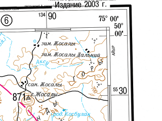 Reduced fragment of topographic map ru--gs--500k--m43-3--(2003)--N050-00_E072-00--N048-00_E075-00; towns and cities Karaganda, Saran', Shakhtinsk, Shakhan, Abay