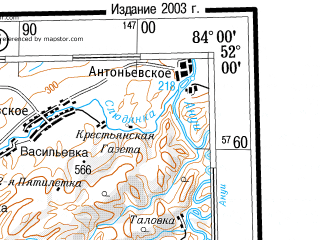Reduced fragment of topographic map ru--gs--500k--m44-2--(2003)--N052-00_E081-00--N050-00_E084-00; towns and cities Rubtsovsk, Leninogorsk, Shemonaikha, Gornyak, Zmeinogorsk