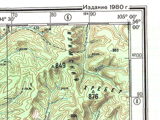 Reduced fragment of topographic map ru--gs--500k--n48-1--N056-00_E102-00--N054-00_E105-00; towns and cities Ust'-uda, Kochenga, Tarasovsk, Abakshino