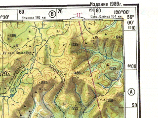 Reduced fragment of topographic map ru--gs--500k--n50-2--N056-00_E117-00--N054-00_E120-00; towns and cities Tupik, Moklakan, Nikolayevskiy, Vershina Olekmy