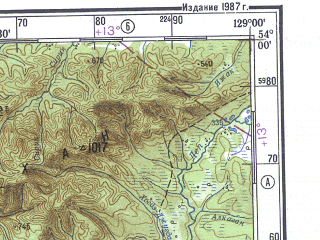 Reduced fragment of topographic map ru--gs--500k--n52-3--N054-00_E126-00--N052-00_E129-00; towns and cities Zeya, Sivaki, Tygda, Ushumun, Yubileynyy