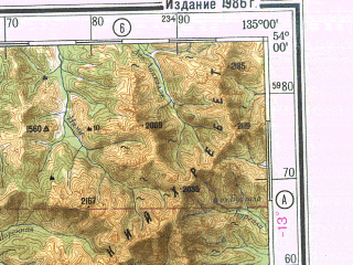 Reduced fragment of topographic map ru--gs--500k--n53-3--N054-00_E132-00--N052-00_E135-00; towns and cities Sergeyevskiy, Tokur, Zlatoustovsk