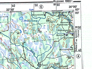 Reduced fragment of topographic map ru--gs--500k--o36-2--N060-00_E033-00--N058-00_E036-00; towns and cities Borovichi, Tikhvin, Boksitogorsk, Pikalevo, Parakhino-poddub'ye