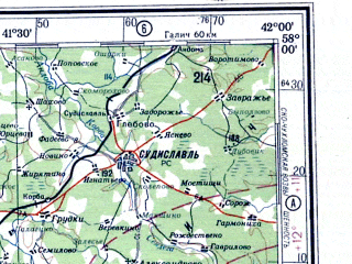 Reduced fragment of topographic map ru--gs--500k--o37-4--N058-00_E039-00--N056-00_E042-00 in area of Gor'kovskoe Vodochranilisce; towns and cities Yaroslavl', Kostroma, Vladimir, Ivanovo, Kovrov