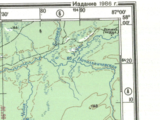 Reduced fragment of topographic map ru--gs--500k--o45-3--N058-00_E084-00--N056-00_E087-00; towns and cities Tomsk, Anzhero-sudzhensk, Asino, Tayga, Yaya