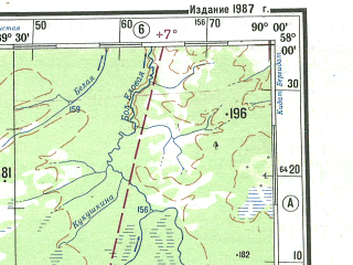 Reduced fragment of topographic map ru--gs--500k--o45-4--N058-00_E087-00--N056-00_E090-00; towns and cities Bogotol, Mariinsk, Teplaya, Krasnyye Orly, Tundinka