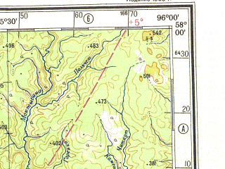 Reduced fragment of topographic map ru--gs--500k--o46-4--N058-00_E093-00--N056-00_E096-00; towns and cities Kansk, Berezovka, Dodonovo, Filimonovo, Kazachinskoye