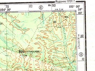 Reduced fragment of topographic map ru--gs--500k--o48-3--N058-00_E102-00--N056-00_E105-00; towns and cities Zheleznogorsk-ilimskiy, Zayarsk, Kezhemskiy, Sotsgorodok, Khrebotovaya