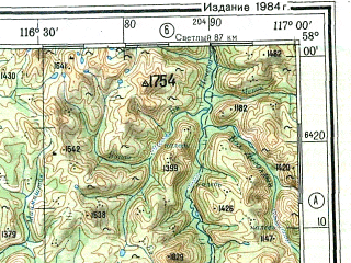 Reduced fragment of topographic map ru--gs--500k--o50-3--N058-00_E114-00--N056-00_E117-00 in area of Ozero Oron; towns and cities Bodaybo, Pronikho, Signay, Amalyk