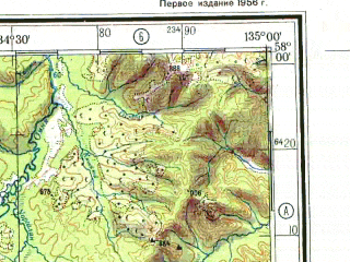 Reduced fragment of topographic map ru--gs--500k--o53-3--N058-00_E132-00--N056-00_E135-00; towns and cities Katanye, Mar-kyuyel, Selingde