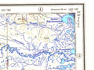 Reduced fragment of topographic map ru--gs--500k--o57-4--N058-00_E159-00--N056-00_E162-00; towns and cities Klyuchi, Kozyrevsk, Obukhovo, Staraya-sedanka, Verkhne-ozernaya