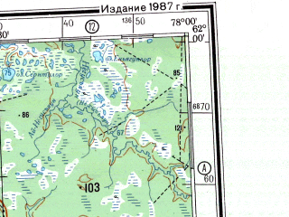 Reduced fragment of topographic map ru--gs--500k--p43-3_4--N062-00_E072-00--N060-00_E078-00 in area of Ozero Pil'tanlor, Ozero Imnlor, Ozero Imnlor; towns and cities Nizhnevartovsk, Surgut, Nefteyugansk, Megion, Strezhevoy