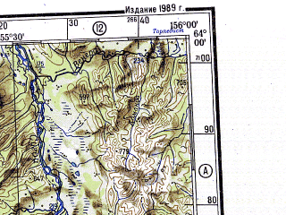 Reduced fragment of topographic map ru--gs--500k--p56-1_2--N064-00_E150-00--N062-00_E156-00 in area of Taskan, Balygycan, Sejmcan; towns and cities Orotukan, Seymchan, Spornoye, Verkhniy Seymchan, Aygur