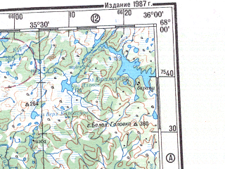 Reduced fragment of topographic map ru--gs--500k--q36-1_2--N068-00_E030-00--N066-00_E036-00 in area of Kovdozero, Umbozero, Tikseozero; towns and cities Apatity, Monchegorsk, Kirovsk, Kandalaksha, Afrikanda