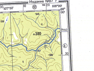 Reduced fragment of topographic map ru--gs--500k--q48-1_2--N068-00_E102-00--N066-00_E108-00; towns and cities Murukta