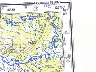 Reduced fragment of topographic map ru--gs--500k--q51-1_2--N068-00_E120-00--N066-00_E126-00 in area of Undjuljung, Soboloh-majan, Horuongka