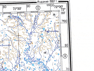 Reduced fragment of topographic map ru--gs--500k--r42-1_2--N072-00_E066-00--N070-00_E072-00 in area of Zaliv Sarapov Sar, Ozero Nejto 1-e; towns and cities Tambey, Mordyyakha