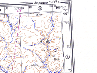 Reduced fragment of topographic map ru--gs--500k--r48-1_2--N072-00_E102-00--N070-00_E108-00; towns and cities Khatanga, Kresty, Kayak